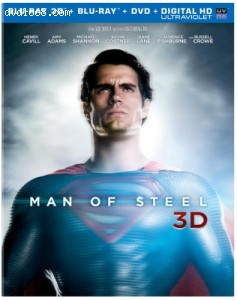 Man of Steel (Blu-ray 3D + Blu-ray + DVD +UltraViolet Combo Pack) Cover