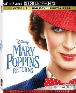 Cover Image for 'Mary Poppins Returns [4K Ultra HD + Blu-ray + Digital]'